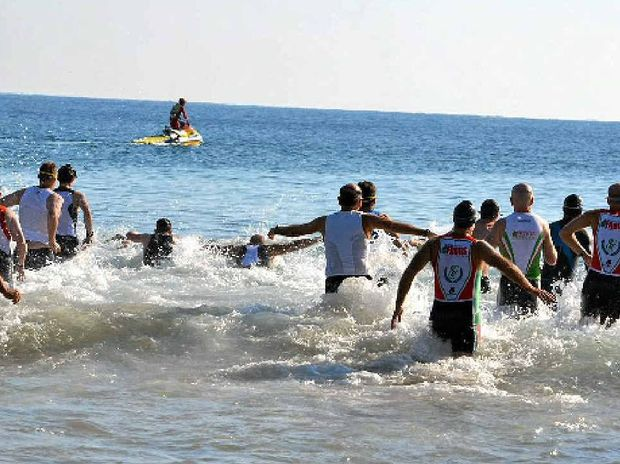 Competitors enjoy the surf swim leg at a previous Agnes Water Triathlon.