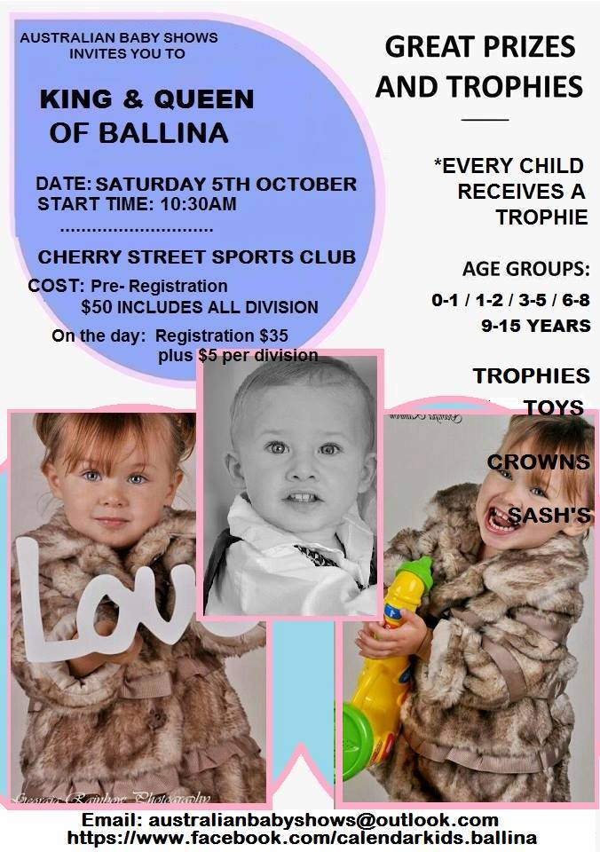 A poster promoting the baby show at Cherry Street bowling club.