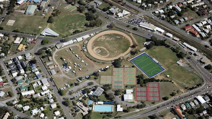 An aerial view of the Gladstone Showgrounds and hockey fields.