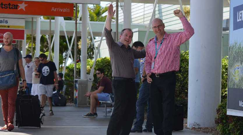 Mackay Airport general manager Rob Porter (right) and Mackay Tourism general manager Stephen Schwer want more tourists in Mackay.