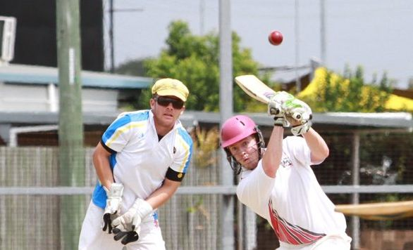SOLID HIT: Steve Nichols finds a gap and knocks up a couple of runs at the Salters Oval cricket match. Photo: Paul Donaldson / NewsMail