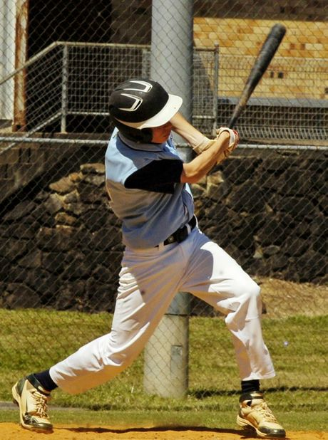 Dean Gillespie smashes another drive to the outfield for his FNC side at this year's Baseball Queensland Under-18 State Titles. Photo Stuart Turner / The Northern Star