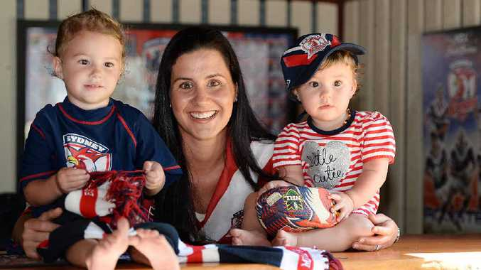 Candice Geeves and her kids Bennett, 2, and Harvey, 1, are ready for the Roosters to win on Sunday.