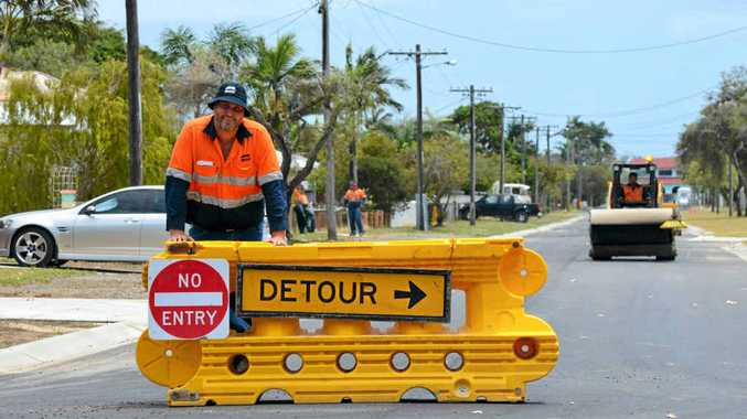 Mackay Regional Council leading hand Jason McKinlay has been working on the roads for about 12 years. He enjoys the variety, doing everything from driving a roller to surveying, to pouring concrete.
