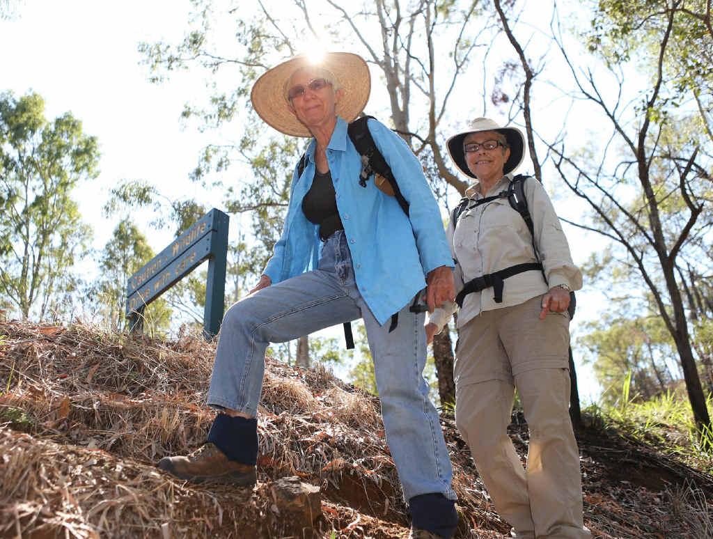 Capricornia Bushwalkers members Pauline Toop (left) and Cheryl Gargan enjoy scenery at a walk in Mount Archer National Park.