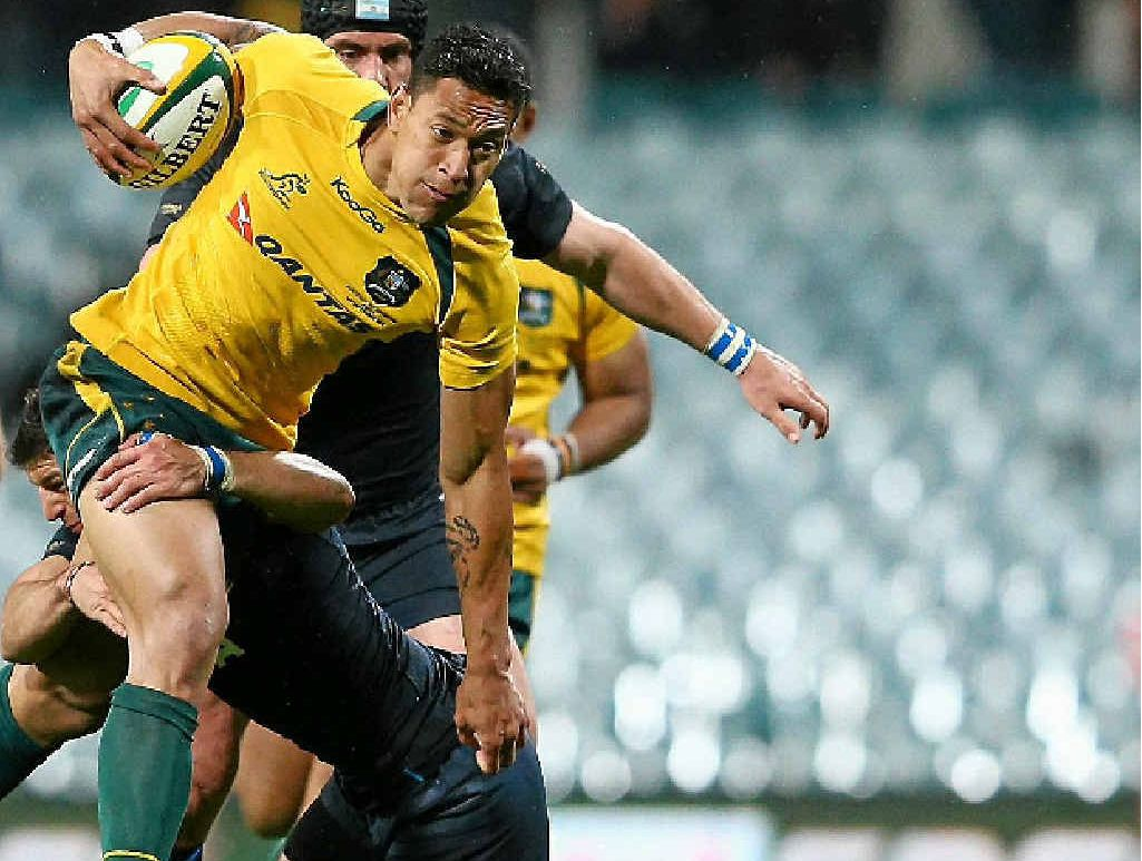 Wallaby Israel Folau takes on Argentina during the Test at Patersons Stadium last month.