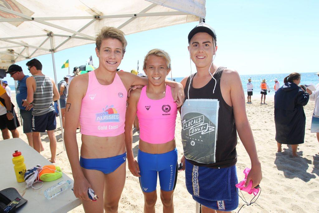 Image for sale: Social photos at the state surf lifesaving endurance championships at Alexandra Headland: Maroochydore boys Lachlan Masters, Lachlan McGrath and Tom Marr. Photo: Brett Wortman / Sunshine Coast Daily