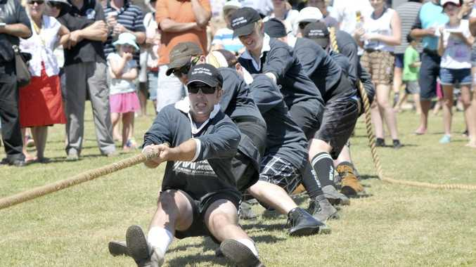 The Maitland tug of war team at the Goanna Pulling. Photo Leigh Jensen / The Daily Examiner