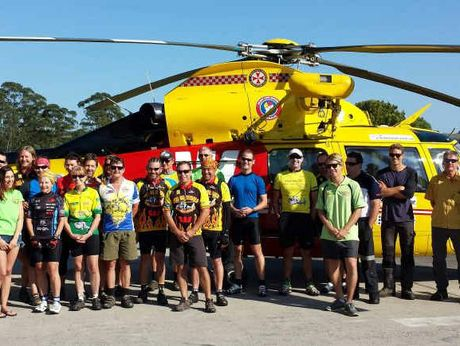 ON YA BIKE: Participants in the 2013 Hell on Wheels at the Lismore Helibase on Saturday, ready to start their 600km fundraising adventure.