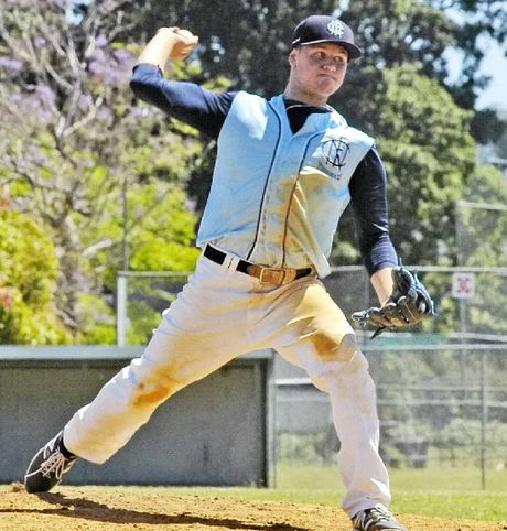 WINDING UP: Pitcher Nathan Cunningham prepares to unleash another effort for his FNC side at this year's Baseball Queensland Under-18 State Titles.