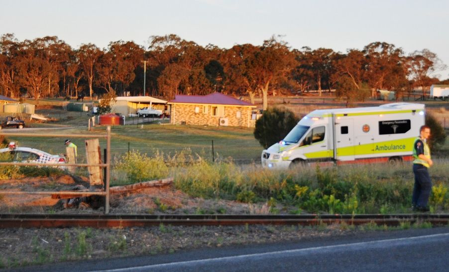 Emergency services investigate a fatal motorcycle crash at Toolburra, north of Warwick.