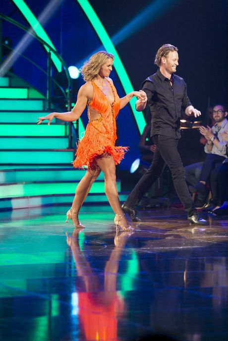 Libby Trickett performs the Cha Cha with her dance partner Dannial Gosper in their 2013 Dancing With The Stars debut.