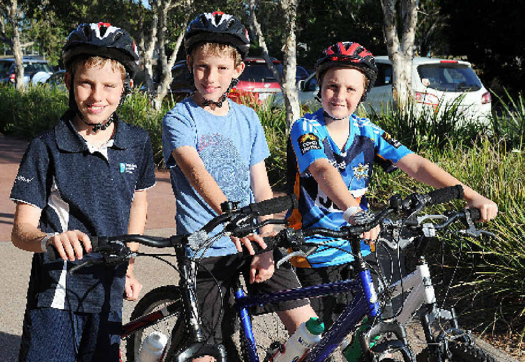 Raising money for the Hervey Bay Youth Mentoring Program and enjoying a Sunday bike ride in the Tour de Bay are Harrison Anson, Bailey Anson and Luke Orr.