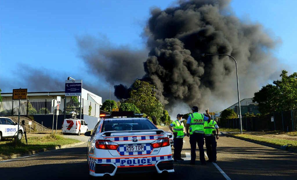 ROAD CLOSED: Police had to close Cobalt St in Carole Park after a factory caught fire.