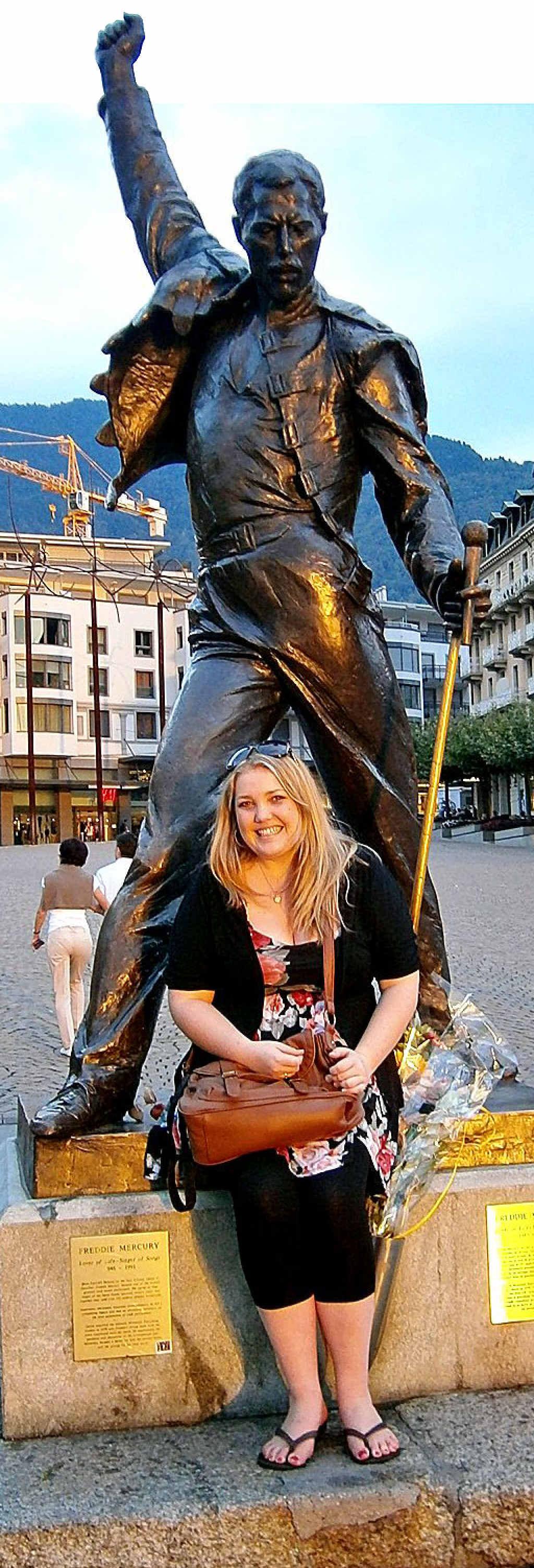 Kristy Muir at the Freddie Mercury Memorial in Montreux.