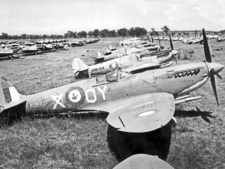 Hundreds of Royal Australian Air Force Spitfires await destruction at Oakey in 1946.