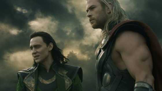 Tom Hiddleston, left and Chris Hemsworth in a scene from the movie Thor: The Dark World. Supplied by Image.net.