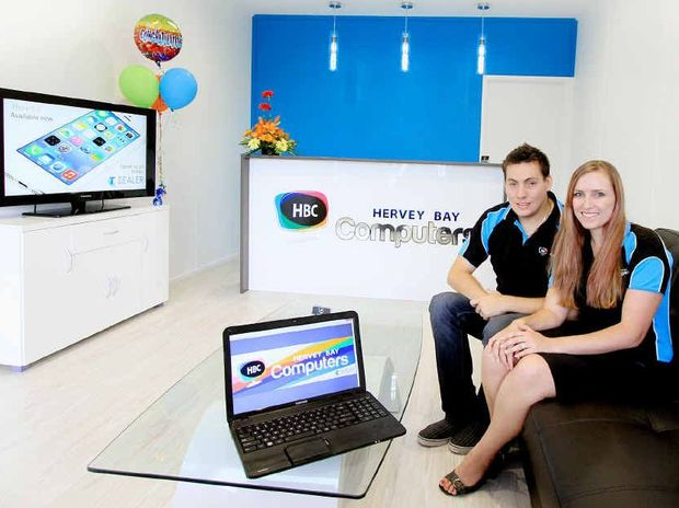 Zac and Loretta Janes have moved their business, Hervey Bay Computers, from home into a shop.