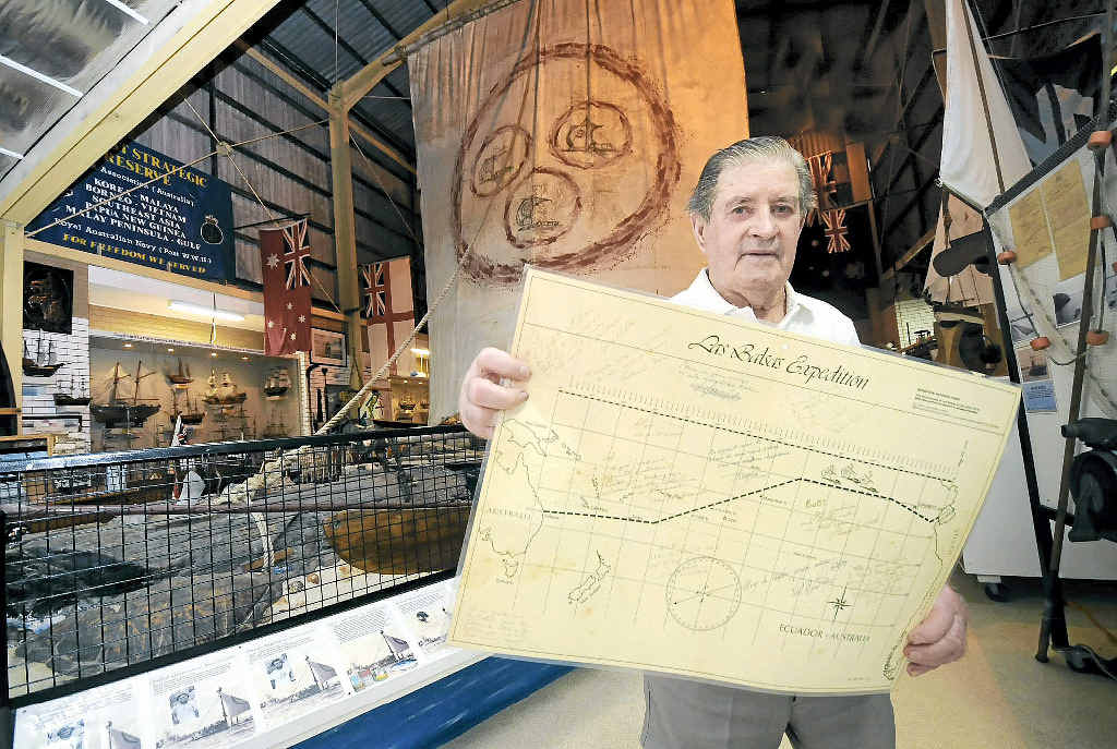 UNIQUE MEMENTO: Bob Hulbert of Ballina with the map of the Las Balsas raft expedition route signed by the 12 crewmen.
