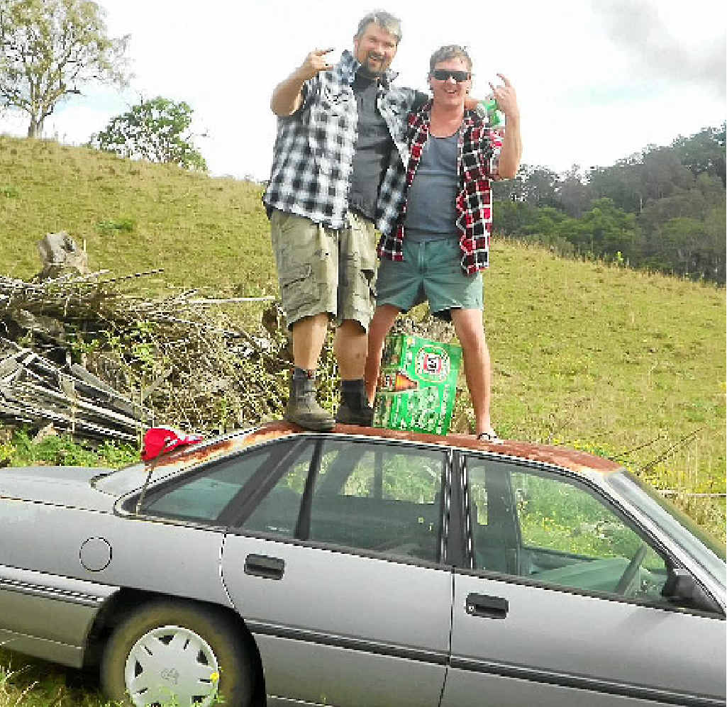 HOP ON: Road Side Bogans Joe Reilly and Dylan Gibbs are off on a magical mystery tour to raise money for cancer research.