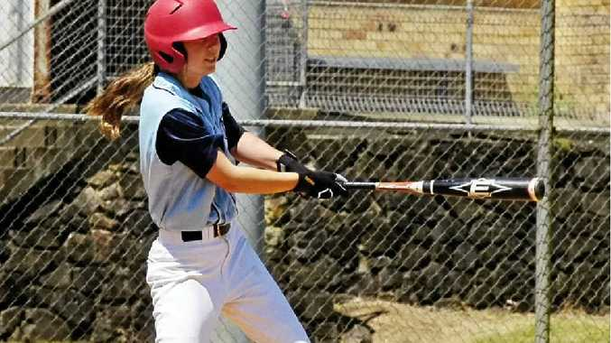 Jess Riley smashes another drive for her FNC side at the Baseball Queensland Under-18 State Titles, held in Lismore.