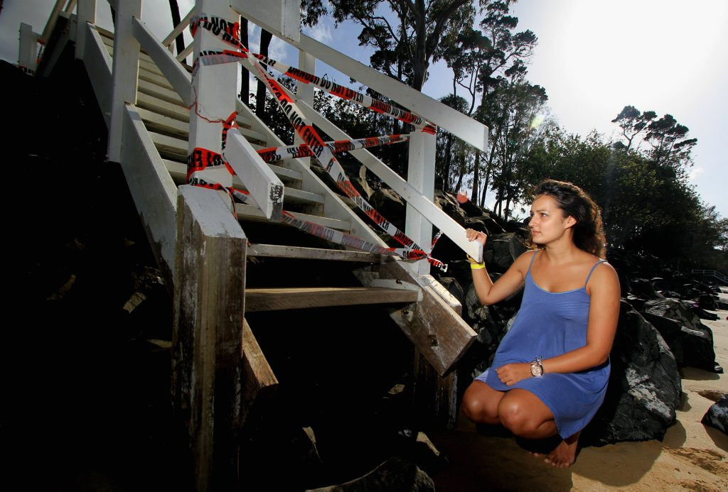 English tourist Sara Quereshi says seeing erosion close up in Scarness is 'hard on the eye'.