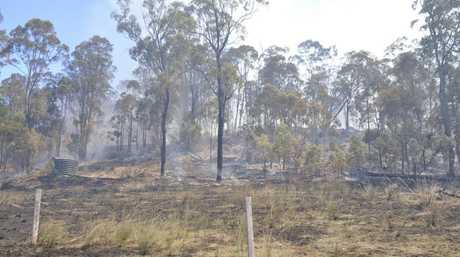A vegetation fire burnt out more than 20ha of bushland near Cabarlah.