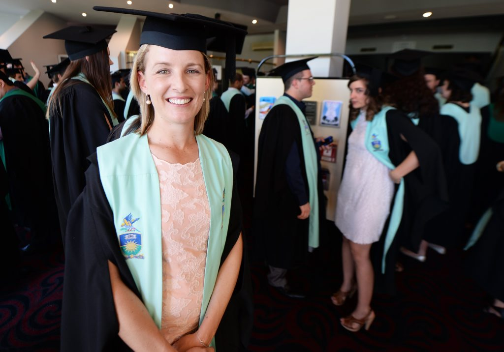 Kate Duncan graduating from CQ University attending the graduation ceremony at the Pilbeam Theatre. Photo: Chris Ison / The Morning Bulletin
