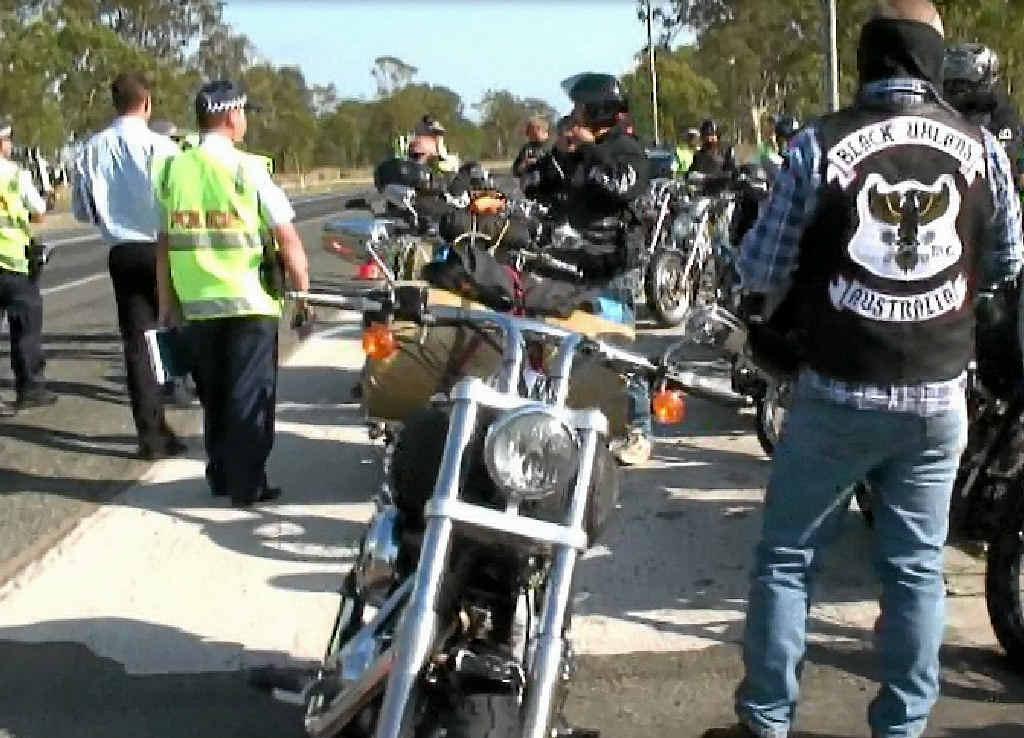 Gladstone intercepted 10 southbound Black Uhlans motorcycle gang members at Iveragh.
