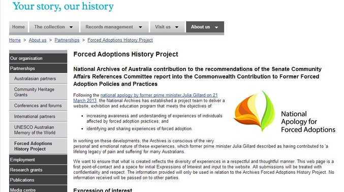 The National Archives of Australia's current website on forced adoption. A new one will be launched in March 2014.