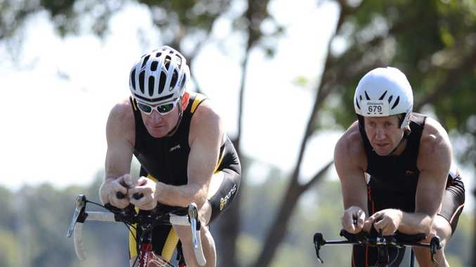 Clarence Valley triathaletes Adam Sydenham (left) and Greg Coomes are preparing to tackle the Yamba Triathlon. Photo Debrah Novak / The Daily Examiner
