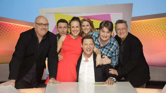 From left, Adam Richard, Frank Woodley, Monty Dimond, Merrick Watts (front), Sarah Kendall, Dave O'Neil and Graeme Blundell in a scene from the TV series Tractor Monkeys.