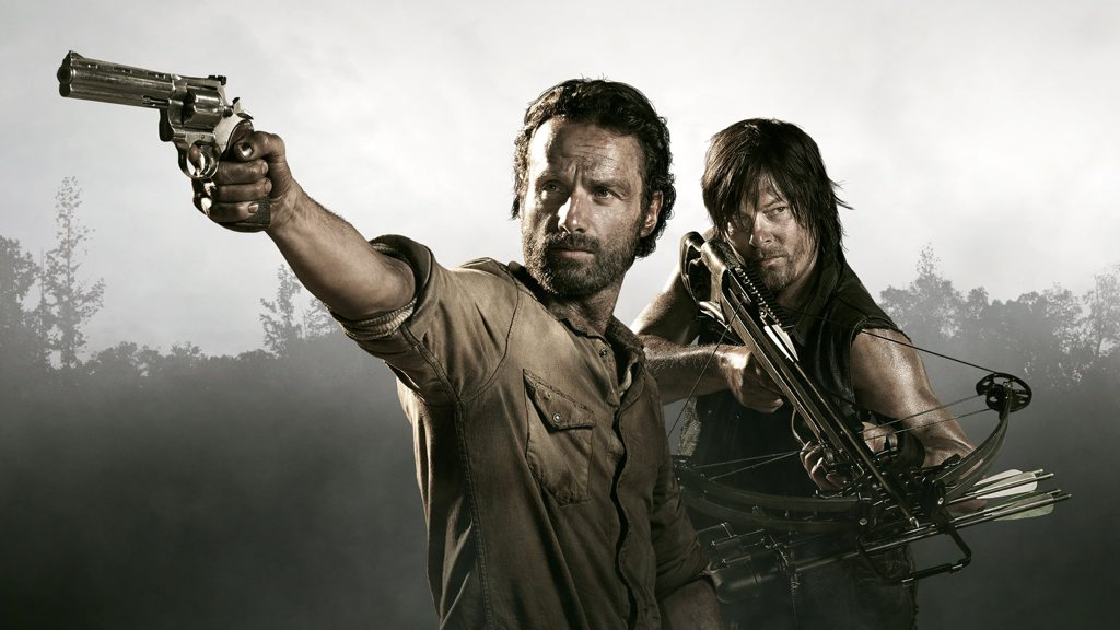Andrew Lincoln, left, and Norman Reedus star in the TV series The Walking Dead.