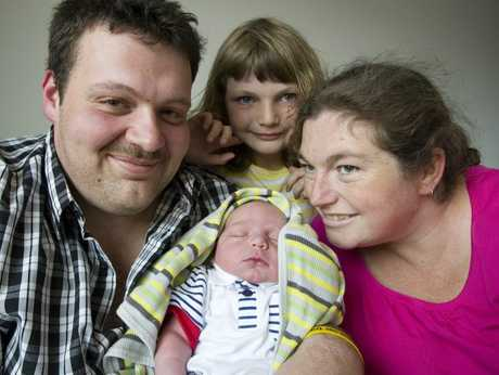 James and Rebecca Sommerfeld with their daughter Rianna and new born son Isaac.