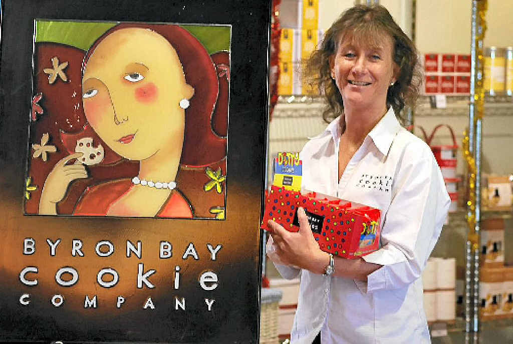 NEW VENTURE: Retail assistant Cynthia Connolly at the Byron Bay Cookie Company's new retail outlet in Jonson St.