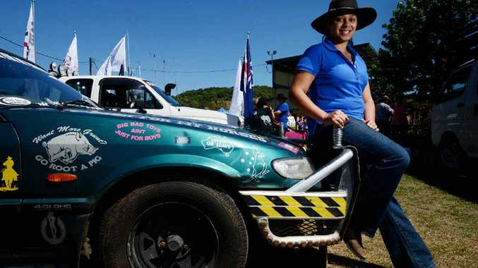 BLUE OVAL: Elcy Loloa from Lismore pictured with her XH Ford Falcon ute named The Lismore Lady that will be tearing up the oval at the North Coast National.