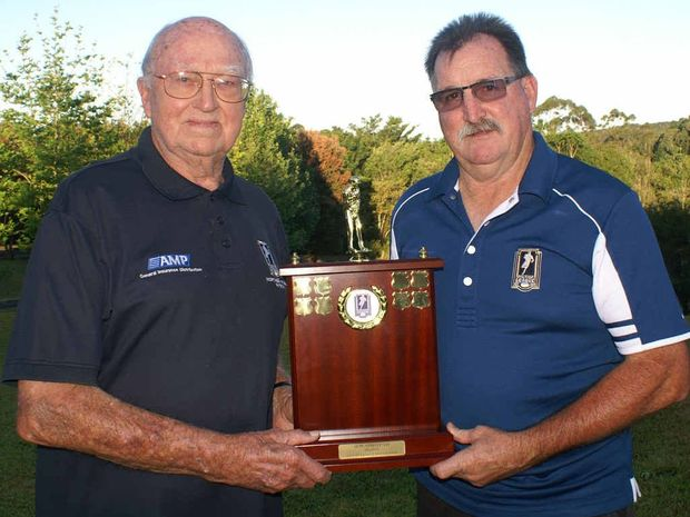 PROUD MOMENT: Former Australian Rugby League general manager Bob Abbott and Northern Rivers Men of League president Phil Chesham with the trophy named in Bob's honour.