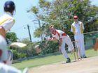Yaralla bowler Aaron Barrett bowls to the Glens Hayden Warwick.