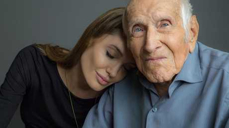 Angelina Jolie with war hero Louis Zamperini.
