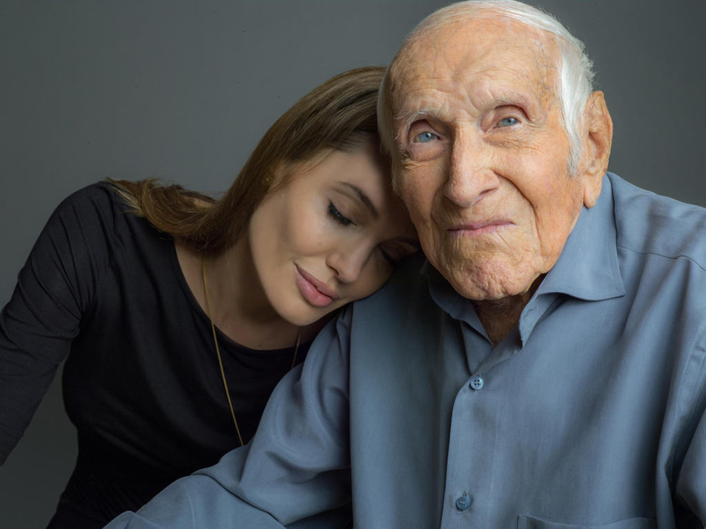Angelina Jolie with war hero Louis Zamperini.