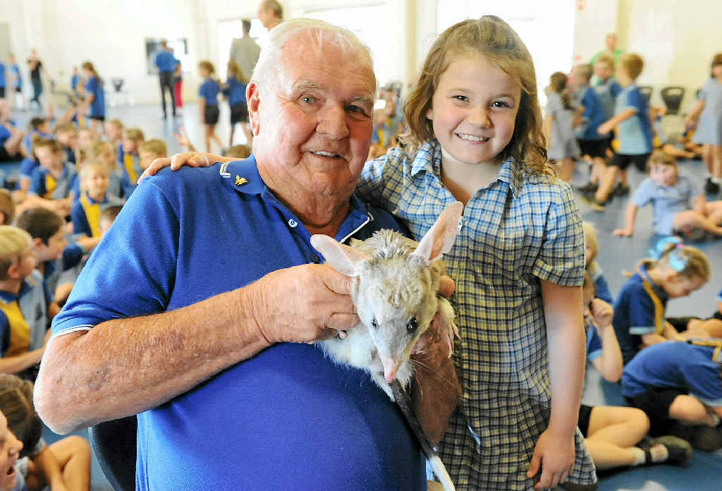 SAVE THE BILBY: Frank Manthey and Makayla Davies with Lester the Bilby at Kalkie State School.