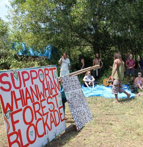 END OF THE ROAD: Protesters at the blockade that came to an end this week.