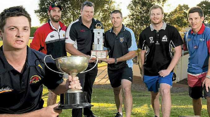 CAPTAIN CONGREGATION: Northern Brothers Diggers captain Kris Glass (left) will have the likes of rival captains Matt Dennis (Metropolitan-Easts), Matt Walls (Uni), Brian May (Wests), Stuart Keene (Souths) and Paul Lochel (Railways) all trying to knock the dual premiers off this season.