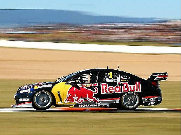 EARLY PACE: Red Bull Racing's Jamie Whincup on his way to claiming a provisional pole victory yesterday.