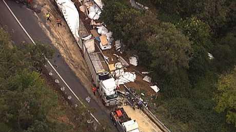 A truck crash on the Toowoomba Range.