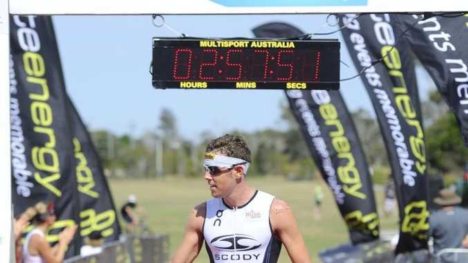 Adam Gordon at the Yamba Triathlon on Sunday morning. Photo JoJo Newby / The Daily Examiner
