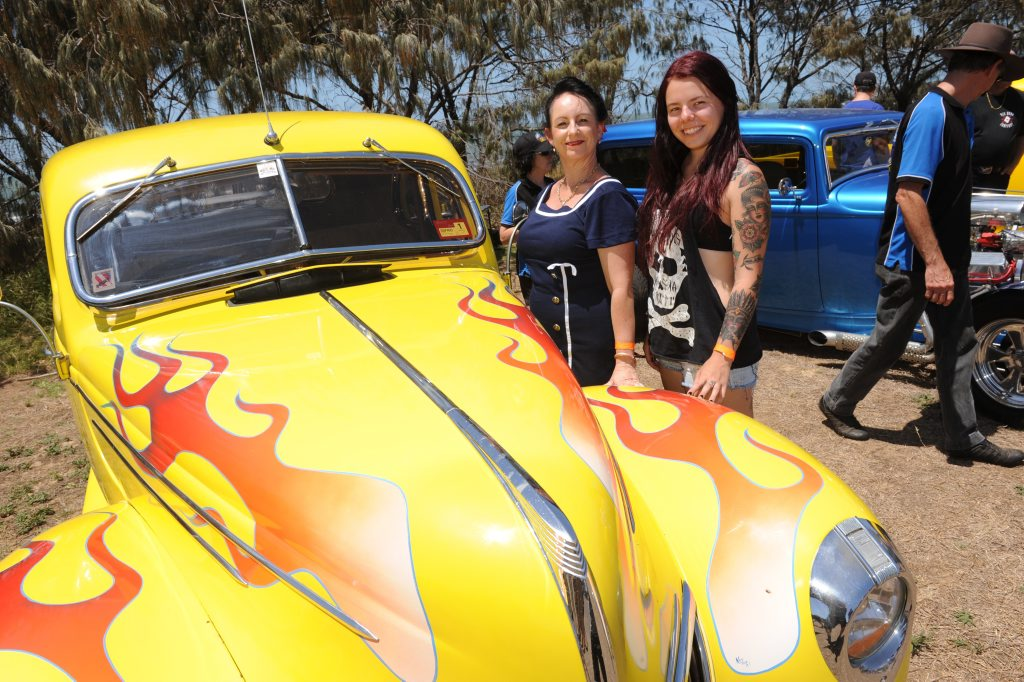 CAR SHOW: Robyn and Simone Johnson from Tin Can Bay at the Bargara Beach Campout Car Show at Nielson Park Beach. Photo: Mike Knott / NewsMail