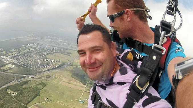 BIG LEAP: Ricky Darragh joins Skydive Ramblers Sunshine Coast in a jump to raise money for sufferers of neurofibromatosis like his sister.