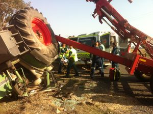 Airlift rescue for man pinned in tractor cabin