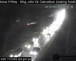 Traffic camera footage shows the hold up in traffic on the Bruce Hwy at Elimbah